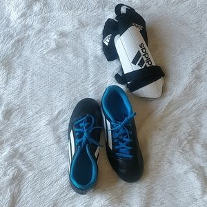 Adidas Soccer Cleats and Shin Guards